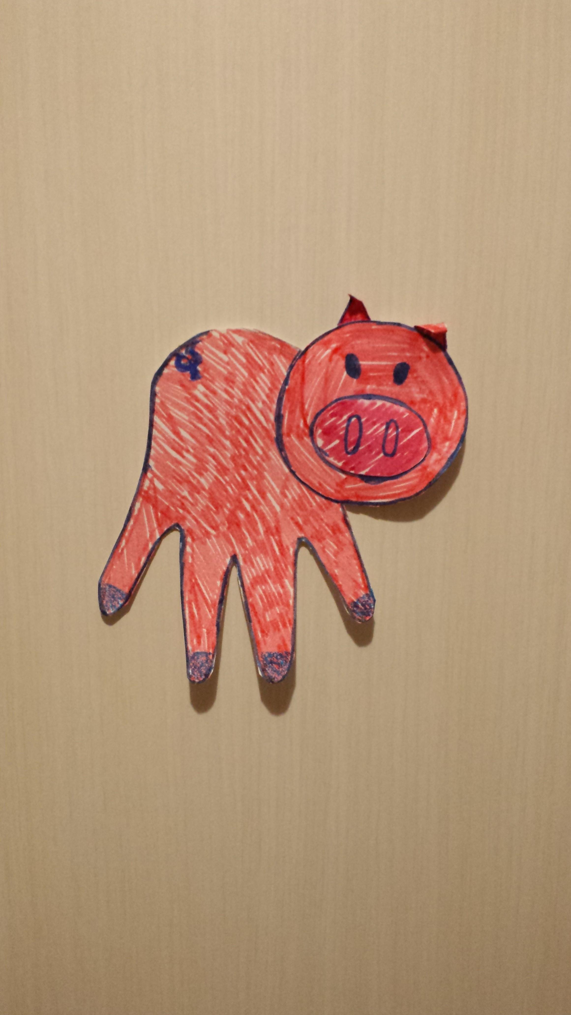 Animali con le manine il maialino pig handprint bimbi for Maialino disegno per bambini