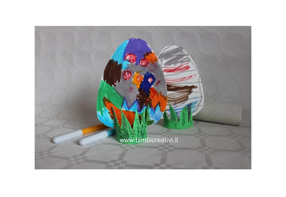 Lavoretto per pasqua uovo colorato con rotolo porta uovo for Porta uova