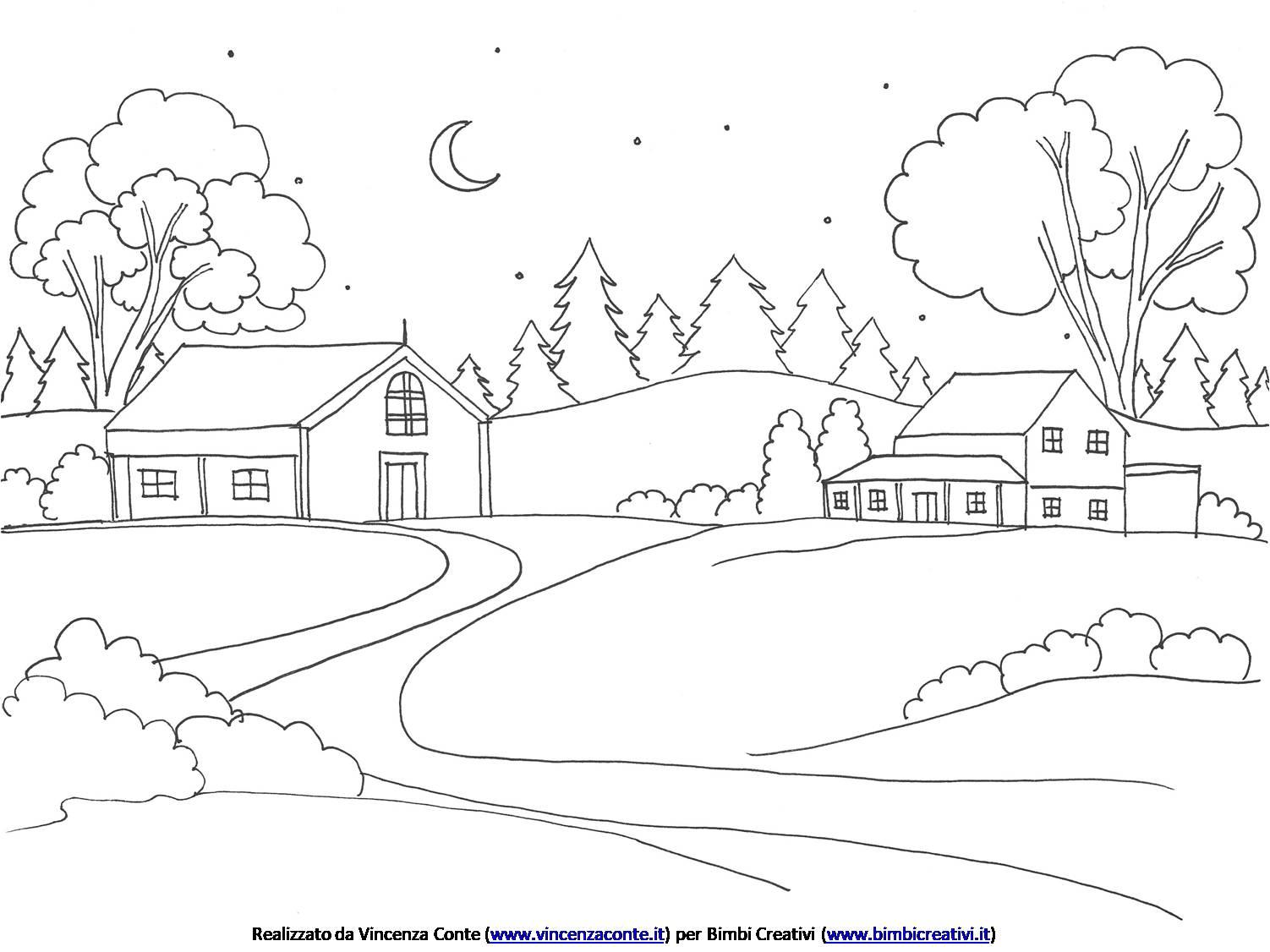 Disegno Da Colorare Paesaggio Invernale Bimbi Creativi