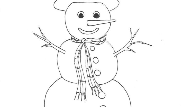 Disegno da colorare. Pupazzo di neve - Bimbi Creativi